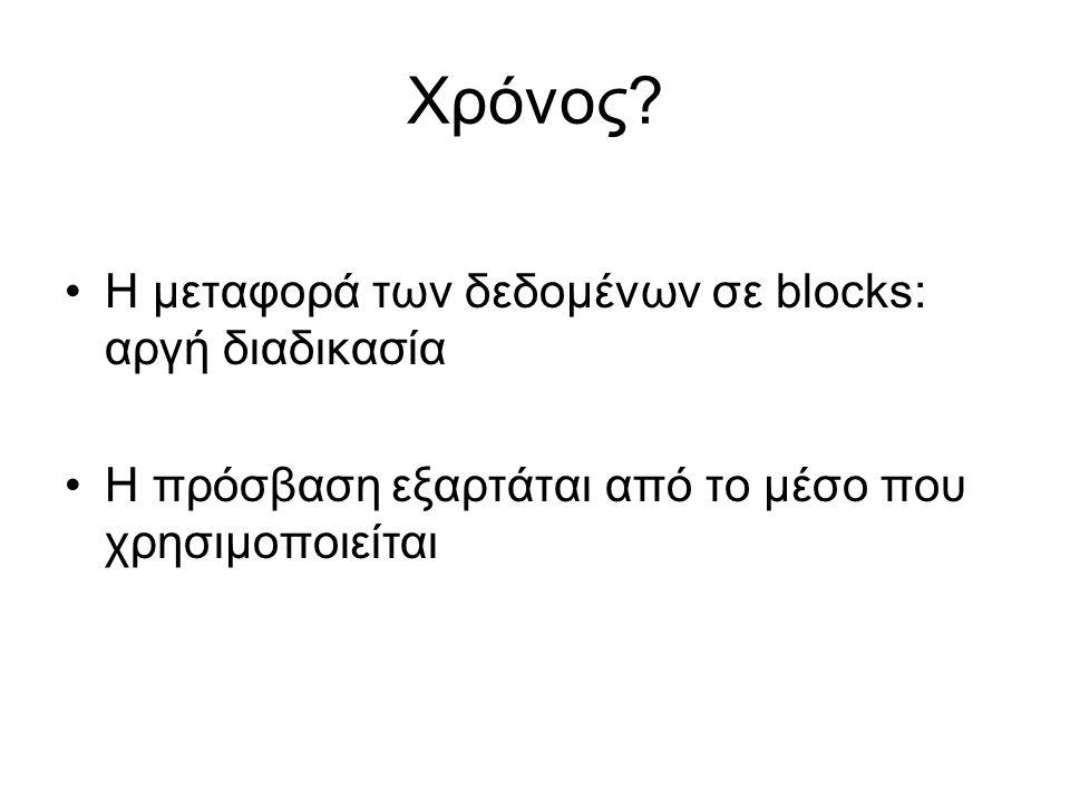 Χρόνος Η μεταφορά των δεδομένων σε blocks: αργή διαδικασία
