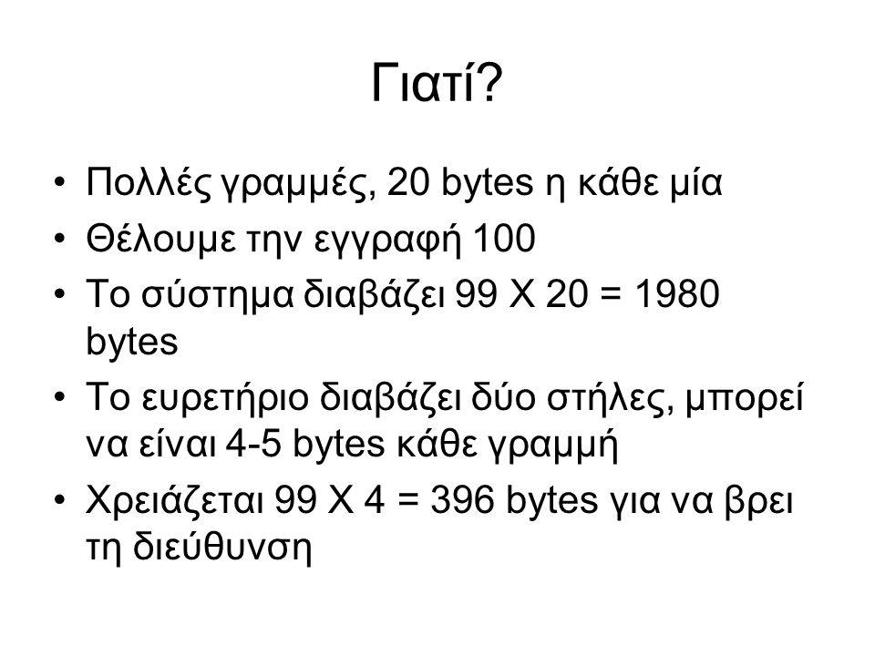 Γιατί Πολλές γραμμές, 20 bytes η κάθε μία Θέλουμε την εγγραφή 100