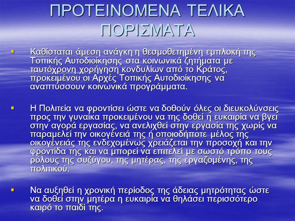 ΠΡΟΤΕΙΝΟΜΕΝΑ ΤΕΛΙΚΑ ΠΟΡΙΣΜΑΤΑ