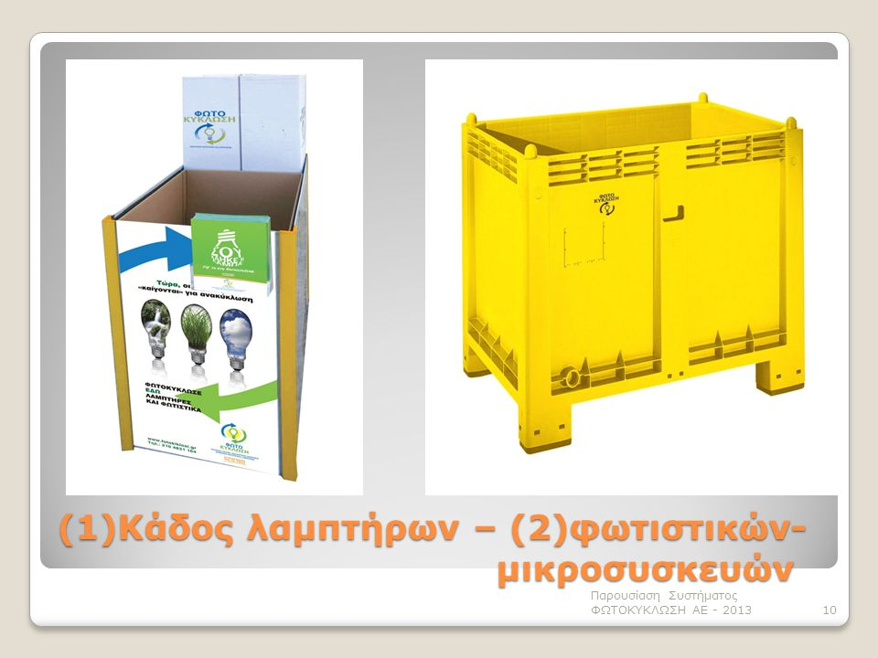 (1)Κάδος λαμπτήρων – (2)φωτιστικών- μικροσυσκευών