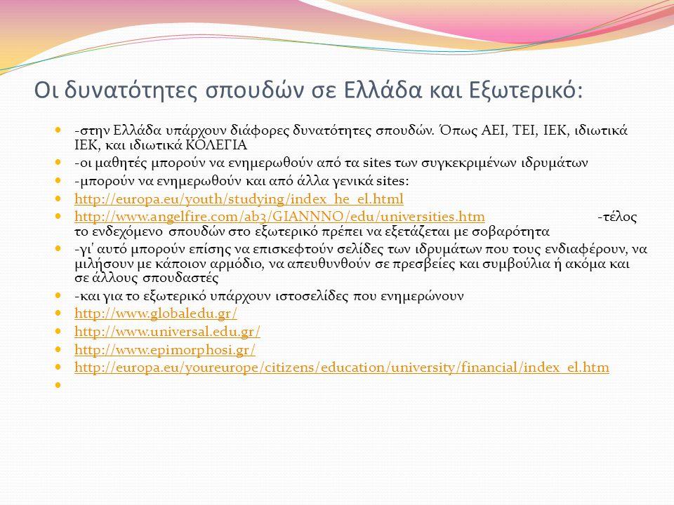 Οι δυνατότητες σπουδών σε Ελλάδα και Εξωτερικό: