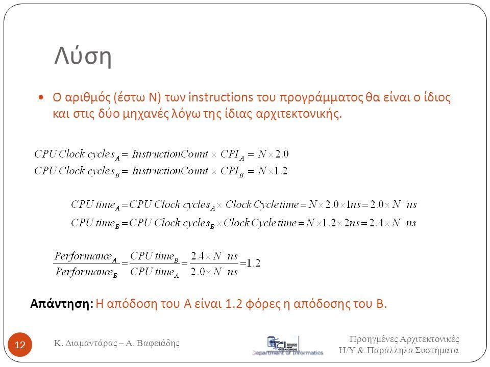 Λύση Ο αριθμός (έστω N) των instructions του προγράμματος θα είναι ο ίδιος και στις δύο μηχανές λόγω της ίδιας αρχιτεκτονικής.