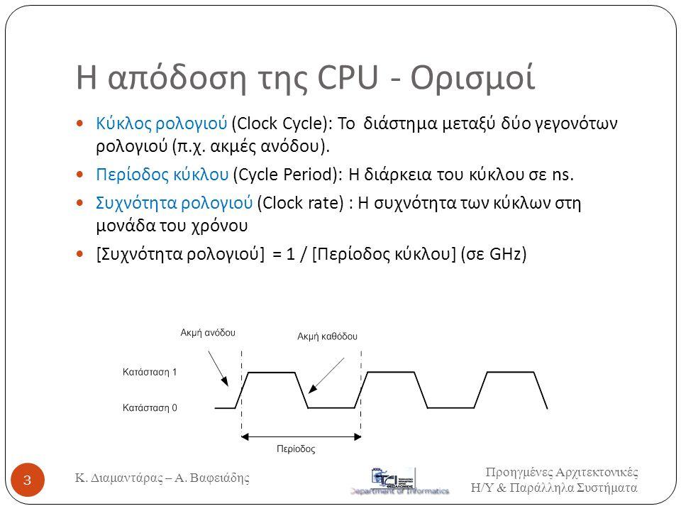 Η απόδοση της CPU - Ορισμοί
