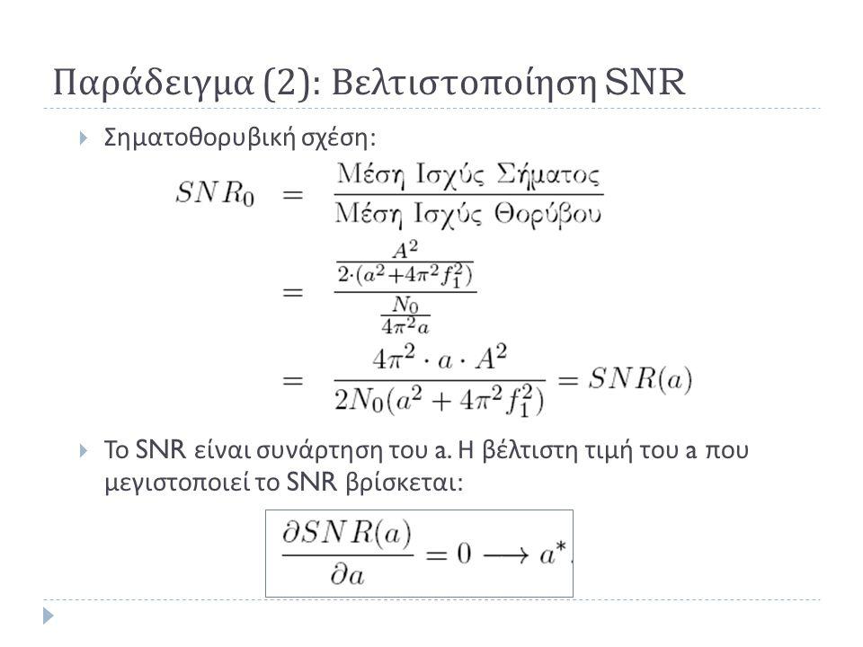 Παράδειγμα (2): Βελτιστοποίηση SNR