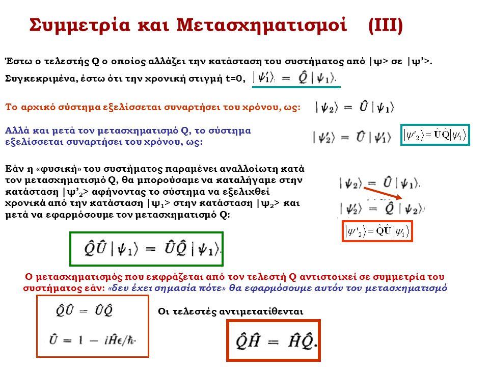 Συμμετρία και Μετασχηματισμοί (ΙΙΙ)