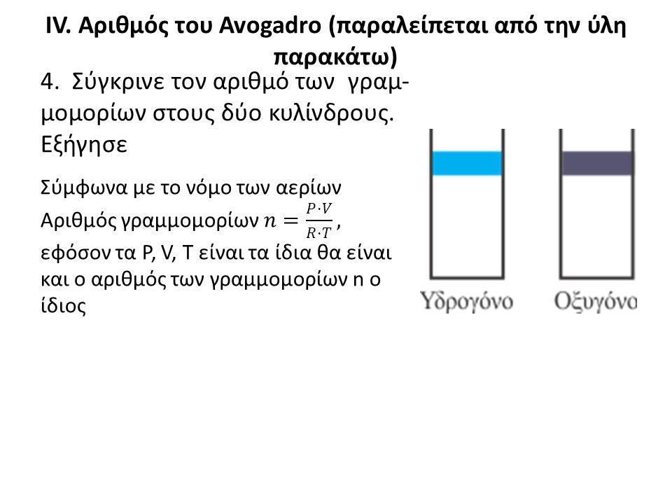 IV. Αριθμός του Avogadro (παραλείπεται από την ύλη παρακάτω)