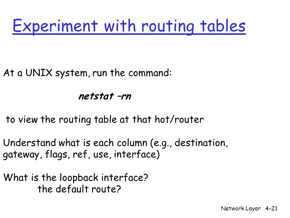 Experiment with routing tables