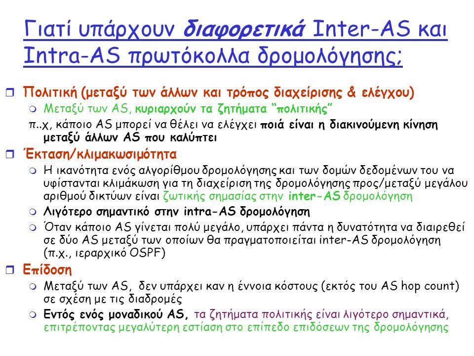 Γιατί υπάρχουν διαφορετικά Inter-AS και Intra-AS πρωτόκολλα δρομολόγησης;