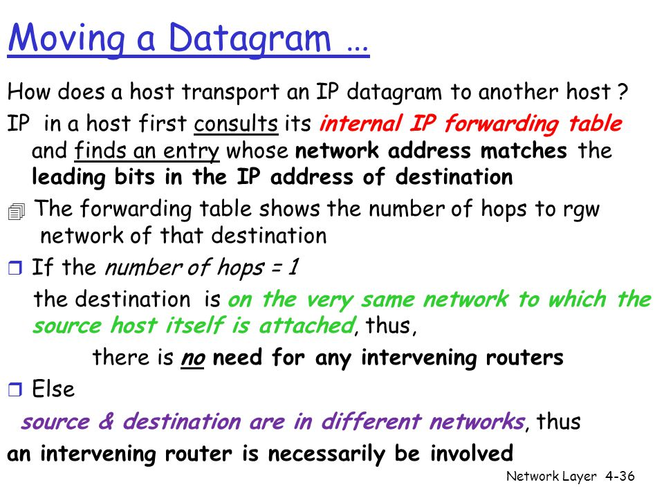 Moving a Datagram … How does a host transport an IP datagram to another host