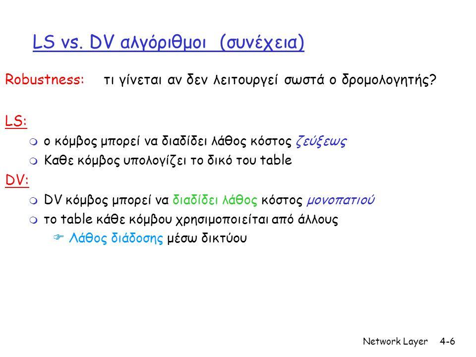 LS vs. DV αλγόριθμοι (συνέχεια)