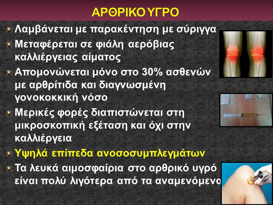 ΑΡΘΡΙΚΟ ΥΓΡΟ Λαμβάνεται με παρακέντηση με σύριγγα