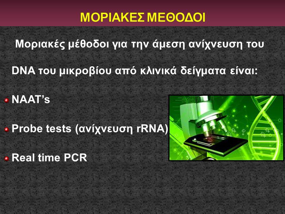 ΜΟΡΙΑΚΕΣ ΜΕΘΟΔΟΙ Μοριακές μέθοδοι για την άμεση ανίχνευση του DNA του μικροβίου από κλινικά δείγματα είναι: