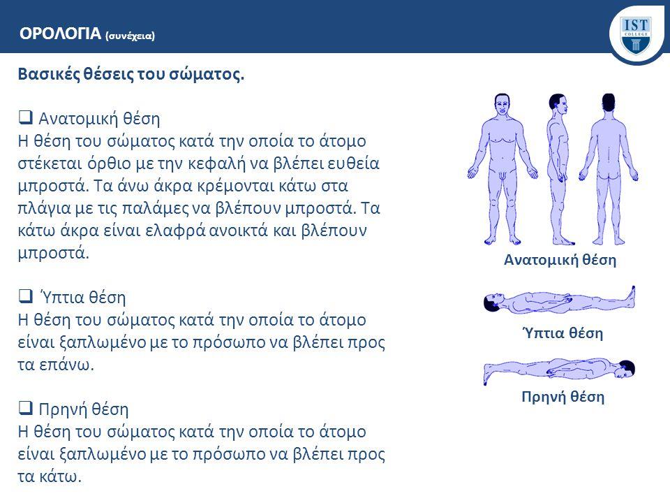 Βασικές θέσεις του σώματος. Ανατομική θέση