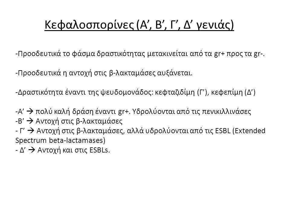 Κεφαλοσπορίνες (Α', Β', Γ', Δ' γενιάς)