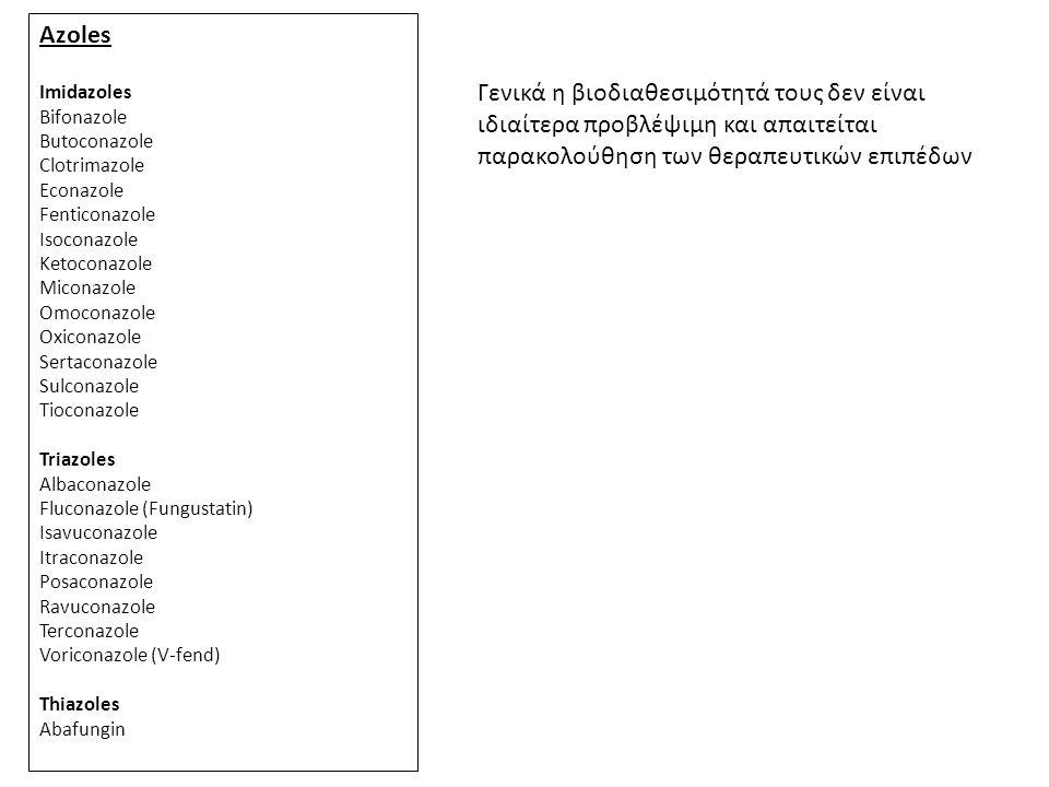 Azoles Imidazoles. Bifonazole. Butoconazole. Clotrimazole. Econazole. Fenticonazole. Isoconazole.