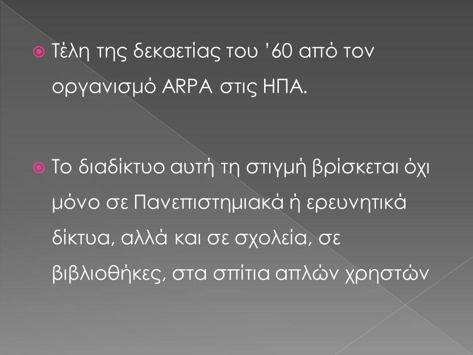 Τέλη της δεκαετίας του '60 από τον οργανισμό ARPA στις ΗΠΑ.