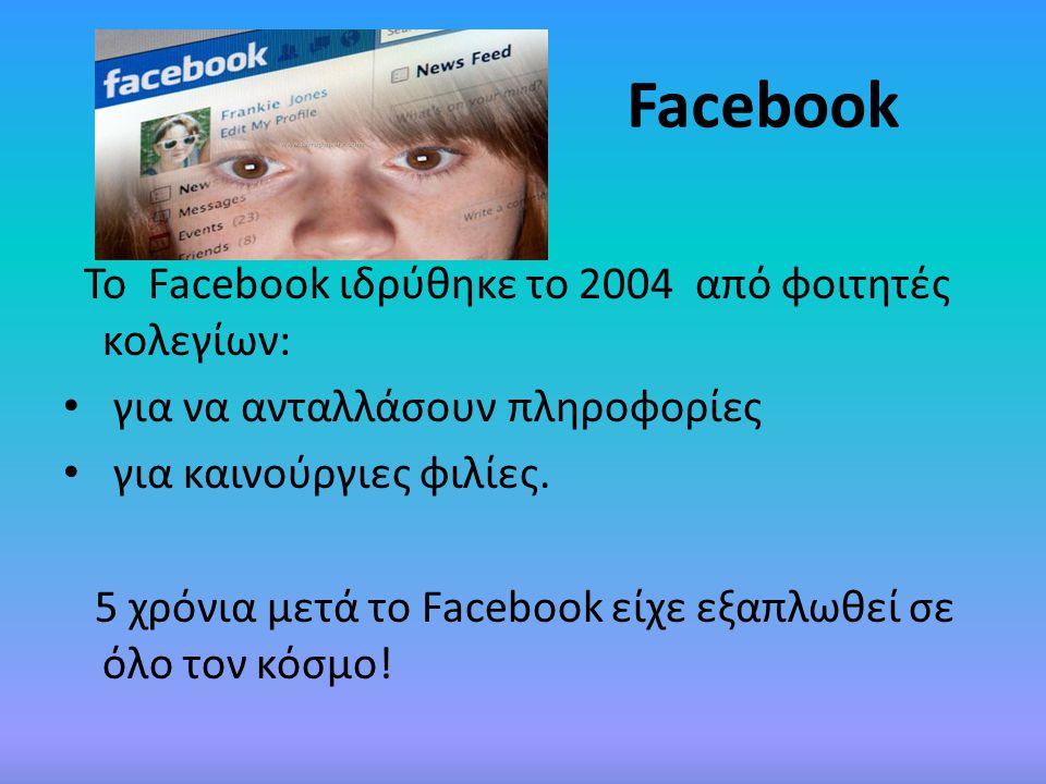 Facebook Το Facebook ιδρύθηκε το 2004 από φοιτητές κολεγίων: