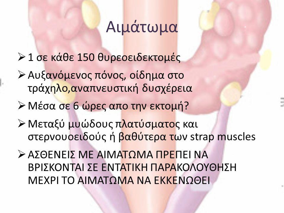 Αιμάτωμα 1 σε κάθε 150 θυρεοειδεκτομές