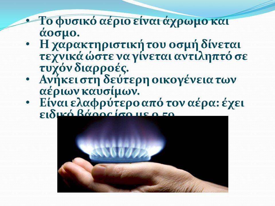 Το φυσικό αέριο είναι άχρωμο και άοσμο.
