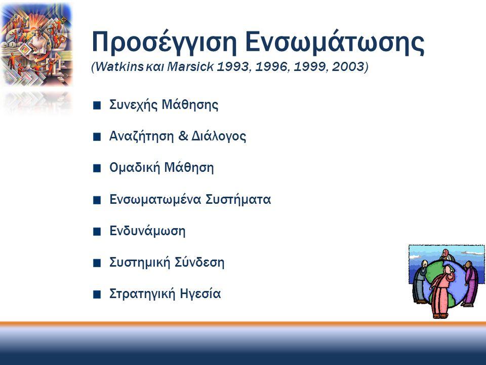 Προσέγγιση Ενσωμάτωσης (Watkins και Marsick 1993, 1996, 1999, 2003)