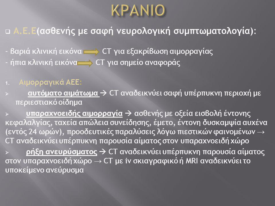 ΚΡΑΝΙΟ Α.Ε.Ε(ασθενής με σαφή νευρολογική συμπτωματολογία):