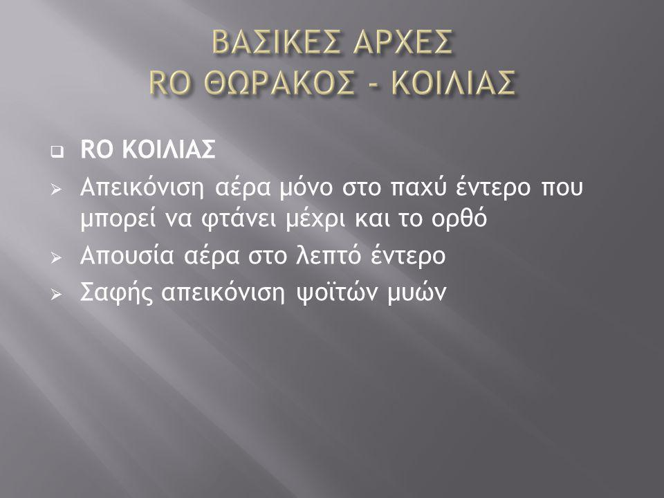ΒΑΣΙΚΕΣ ΑΡΧΕΣ RO ΘΩΡΑΚΟΣ - ΚΟΙΛΙΑΣ