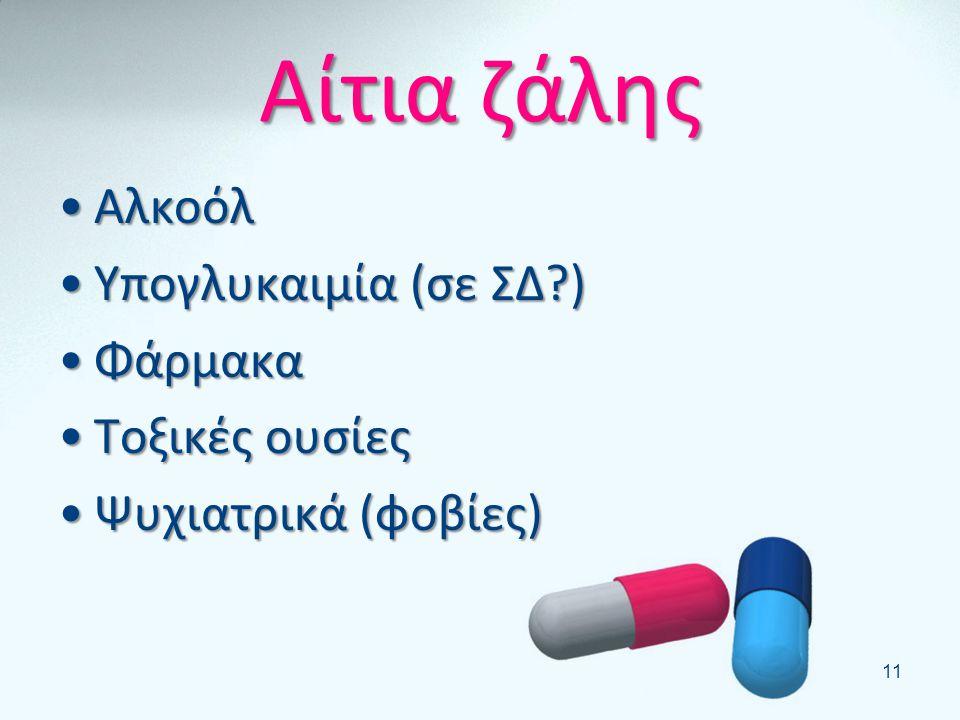 Αίτια ζάλης Αλκοόλ Υπογλυκαιμία (σε ΣΔ ) Φάρμακα Τοξικές ουσίες