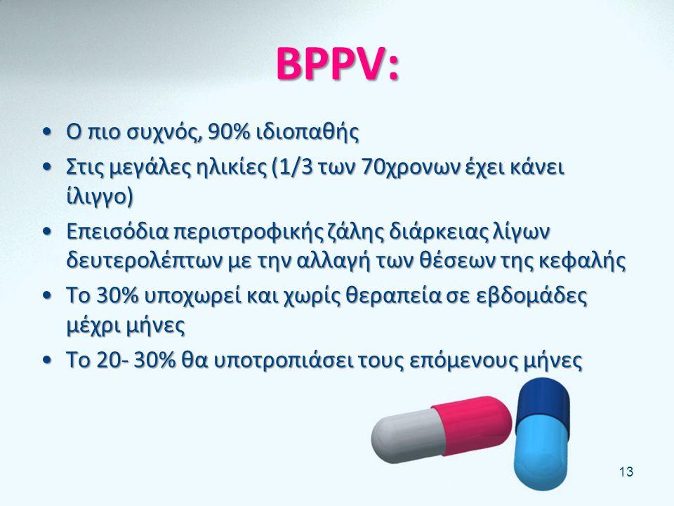 BPPV: Ο πιο συχνός, 90% ιδιοπαθής