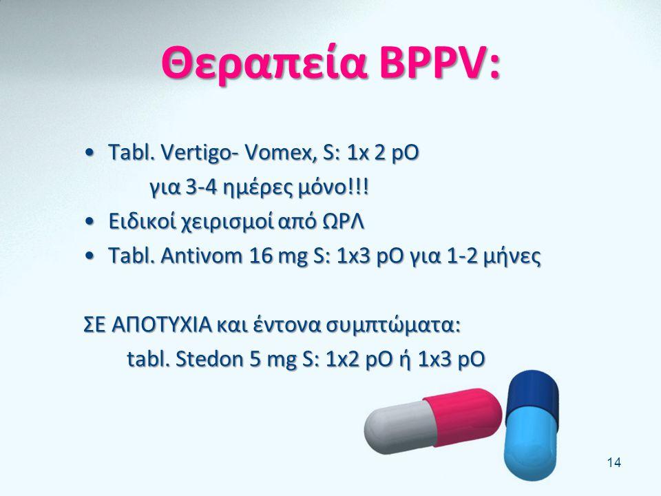 Θεραπεία BPPV: Tabl. Vertigo- Vomex, S: 1x 2 pO για 3-4 ημέρες μόνο!!!