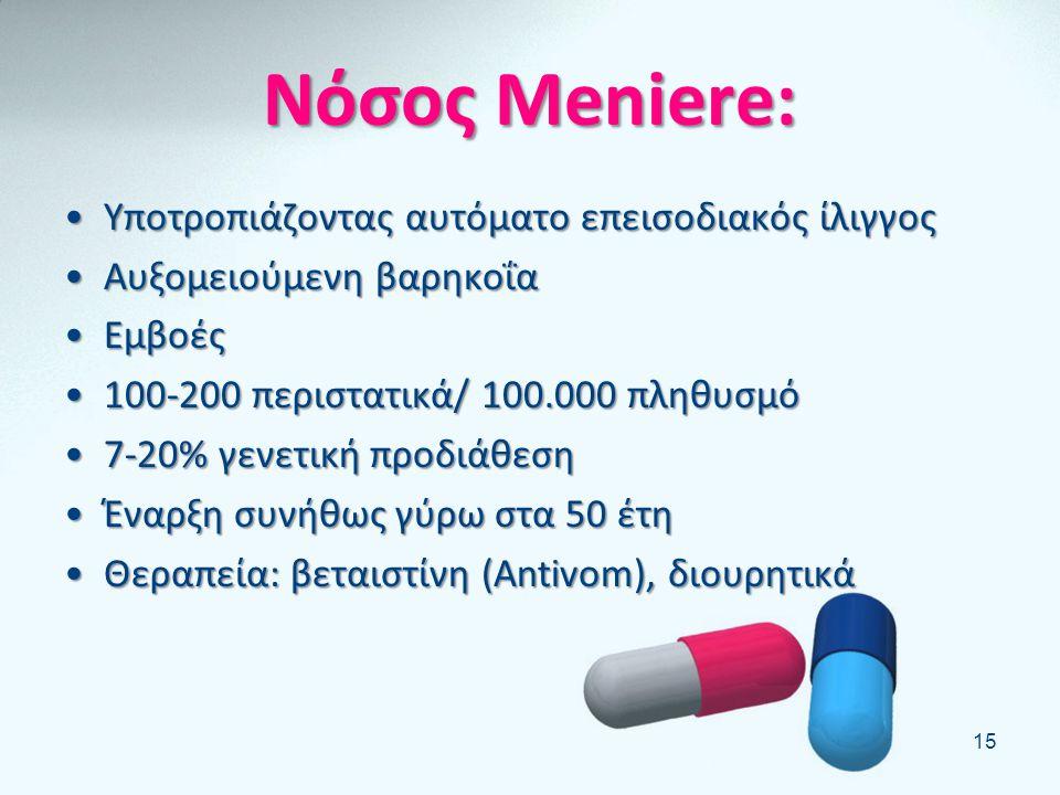 Νόσος Meniere: Υποτροπιάζοντας αυτόματο επεισοδιακός ίλιγγος