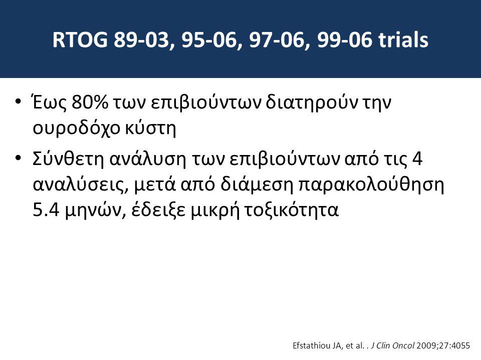 RTOG 89-03, 95-06, 97-06, 99-06 trials Έως 80% των επιβιούντων διατηρούν την ουροδόχο κύστη.