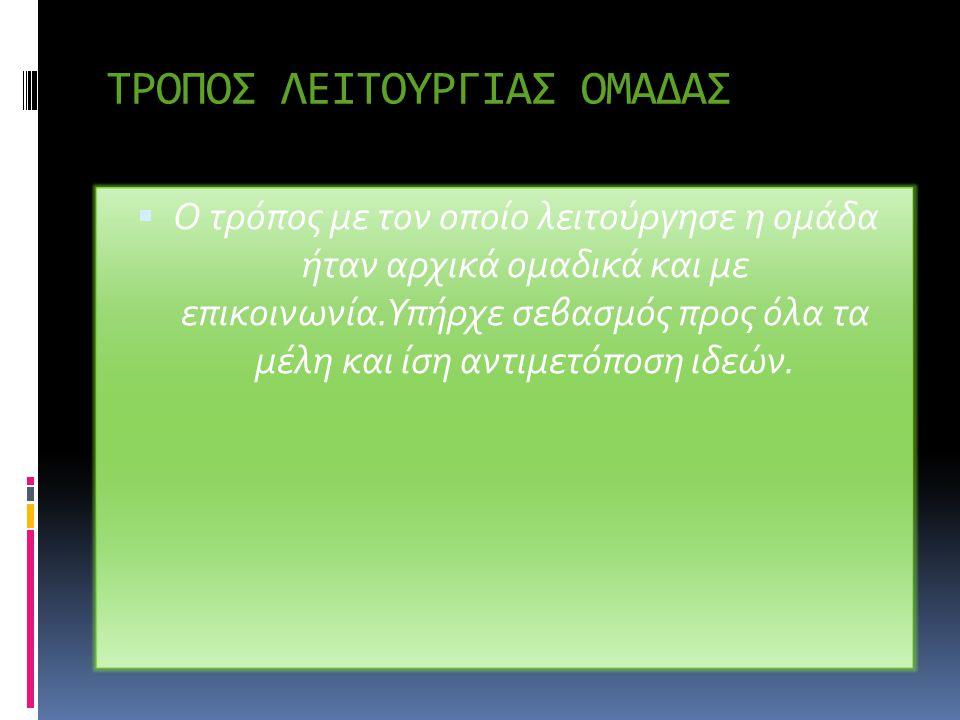 ΤΡΟΠΟΣ ΛΕΙΤΟΥΡΓΙΑΣ ΟΜΑΔΑΣ