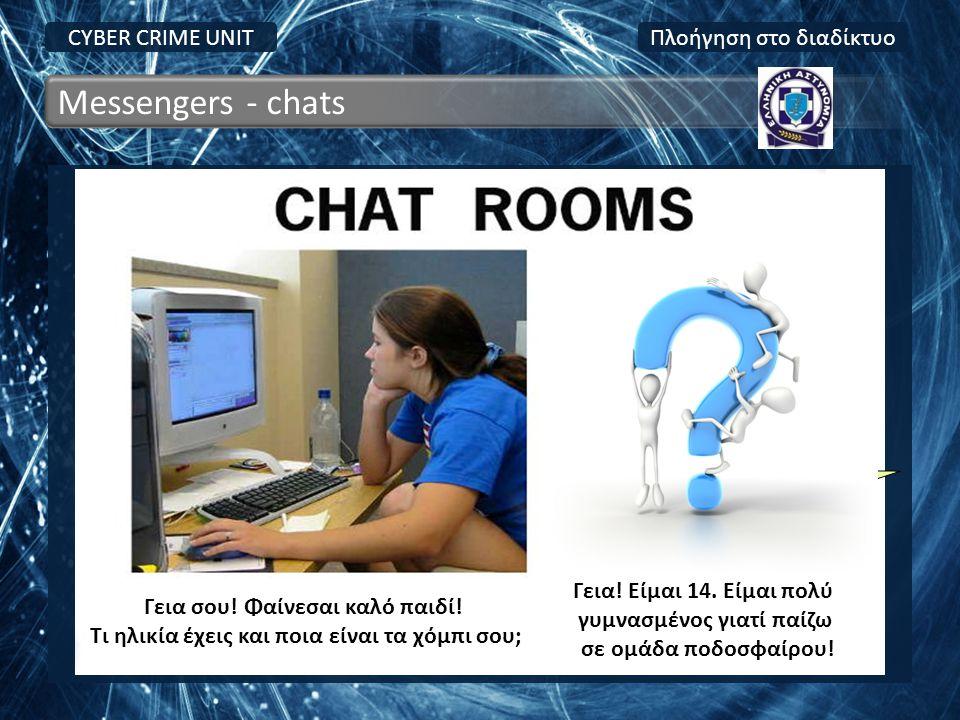 ! Messengers - chats CYBER CRIME UNIT Πλοήγηση στο διαδίκτυο