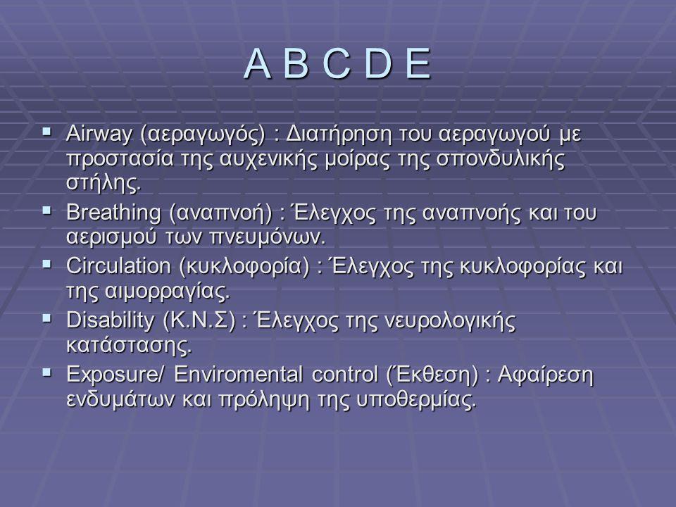 A B C D E Airway (αεραγωγός) : Διατήρηση του αεραγωγού με προστασία της αυχενικής μοίρας της σπονδυλικής στήλης.