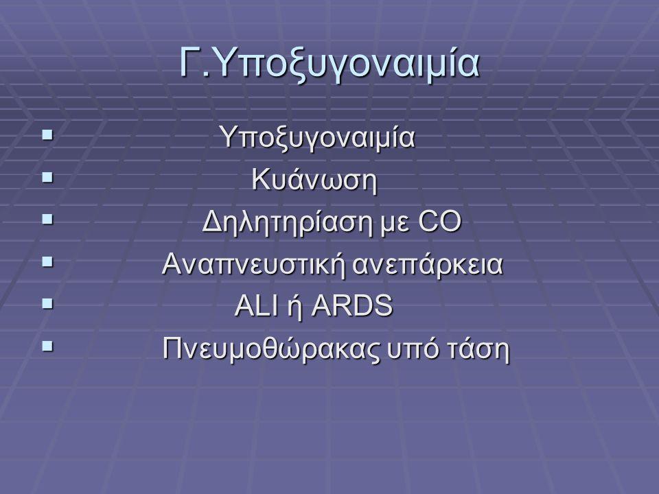 Γ.Υποξυγοναιμία Υποξυγοναιμία Κυάνωση Δηλητηρίαση με CO
