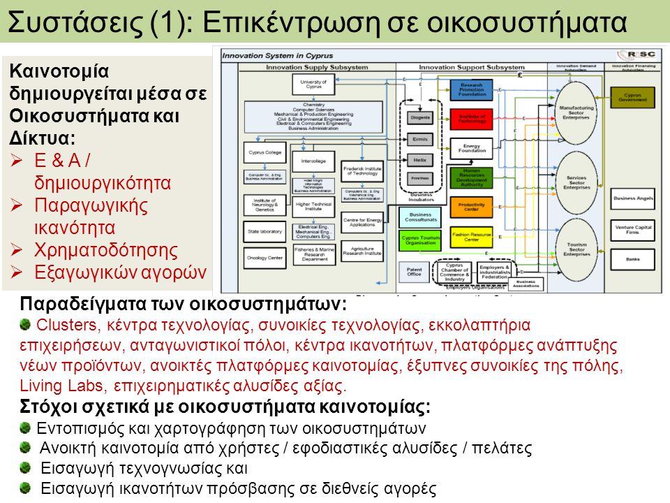 Συστάσεις (1): Επικέντρωση σε οικοσυστήματα
