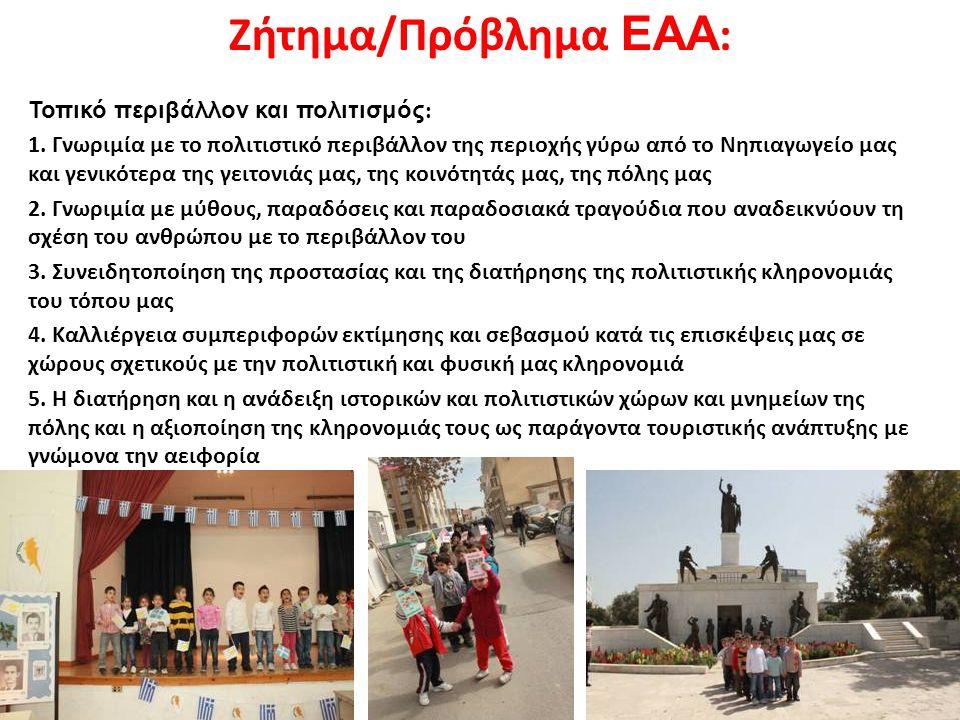 Ζήτημα/Πρόβλημα ΕΑΑ: Τοπικό περιβάλλον και πολιτισμός: