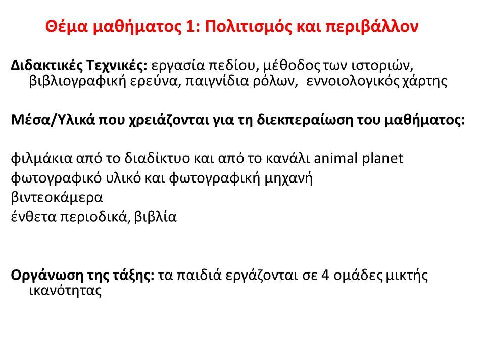 Θέμα μαθήματος 1: Πολιτισμός και περιβάλλον