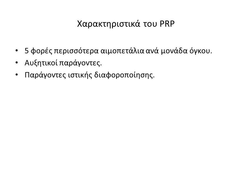 Χαρακτηριστικά του PRP