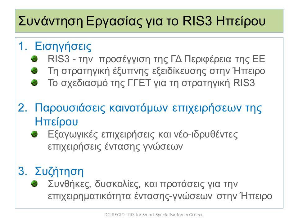 Συνάντηση Εργασίας για το RIS3 Ηπείρου