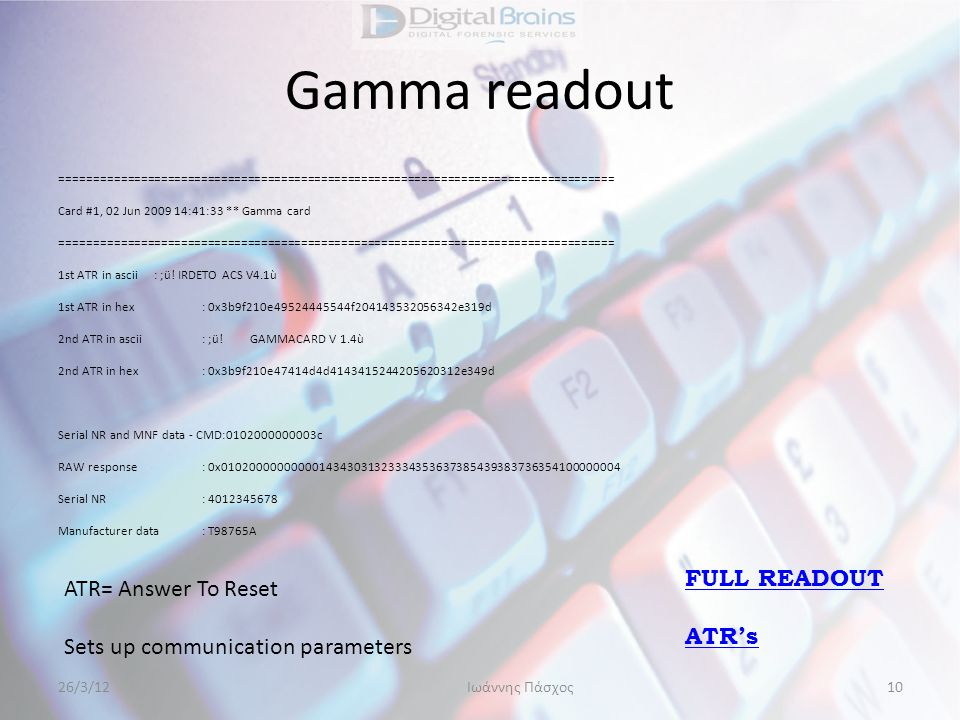 Gamma readout FULL READOUT ATR= Answer To Reset ATR's