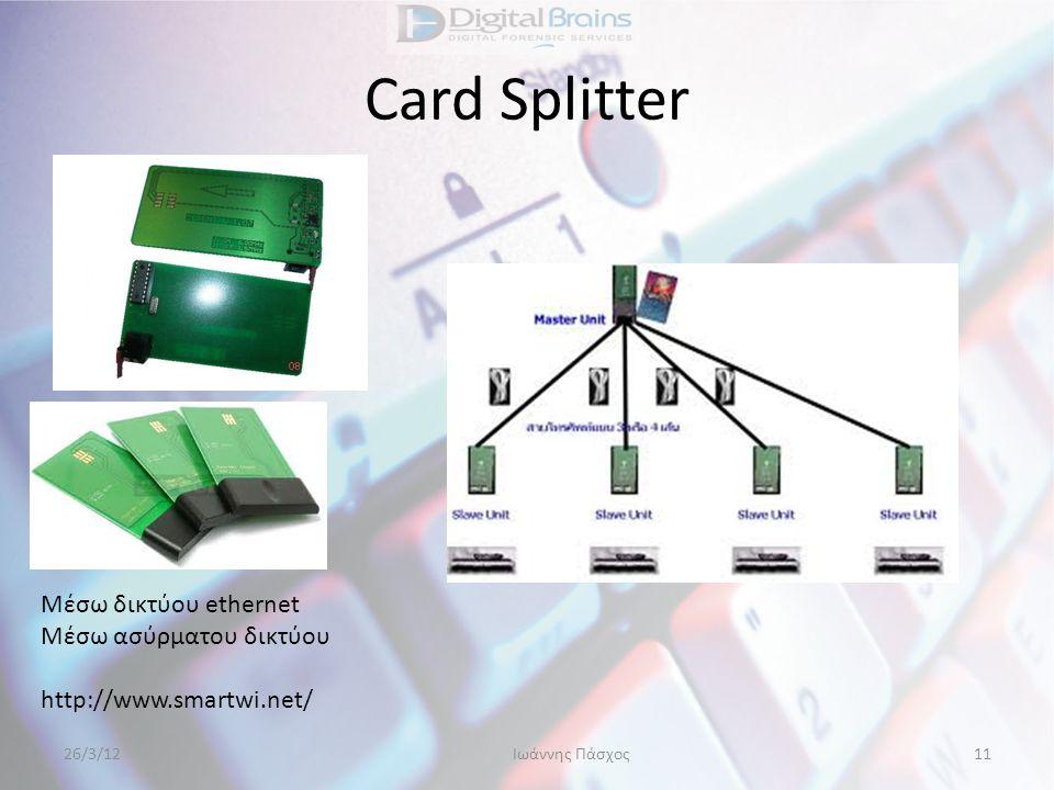 Card Splitter Μέσω δικτύου ethernet Μέσω ασύρματου δικτύου