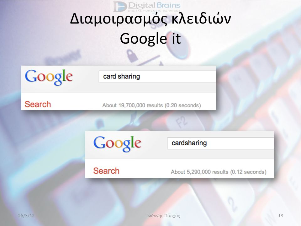 Διαμοιρασμός κλειδιών Google it