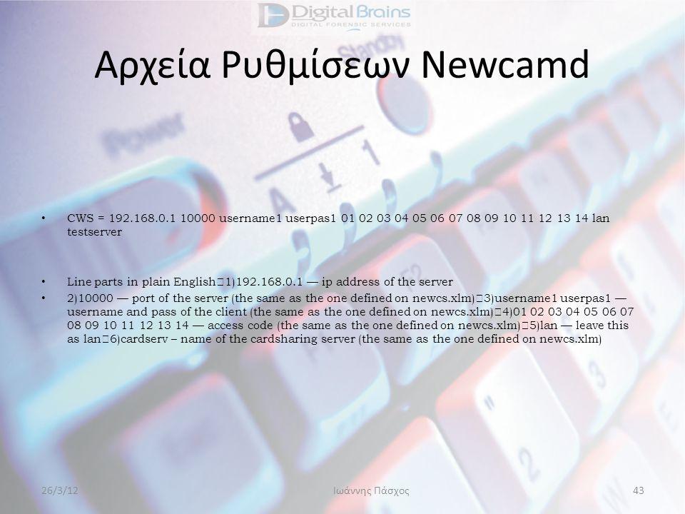 Αρχεία Ρυθμίσεων Newcamd