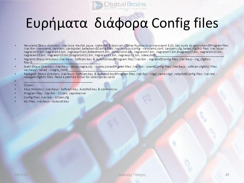 Ευρήματα διάφορα Config files