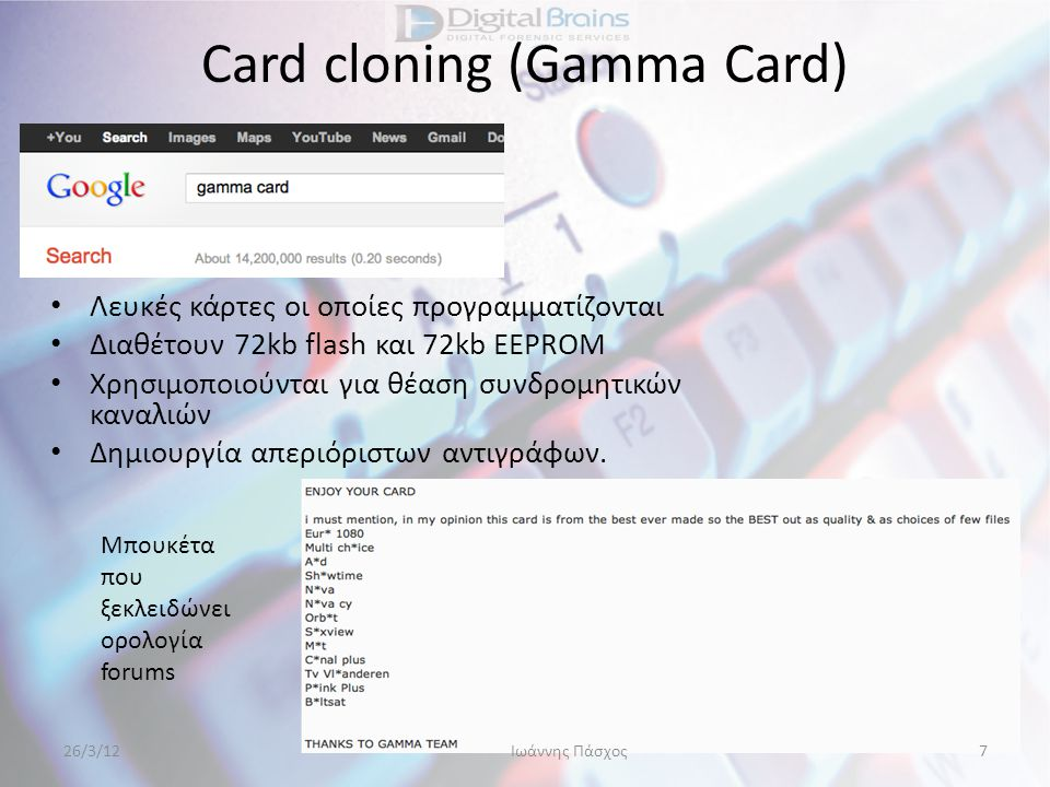 Card cloning (Gamma Card)
