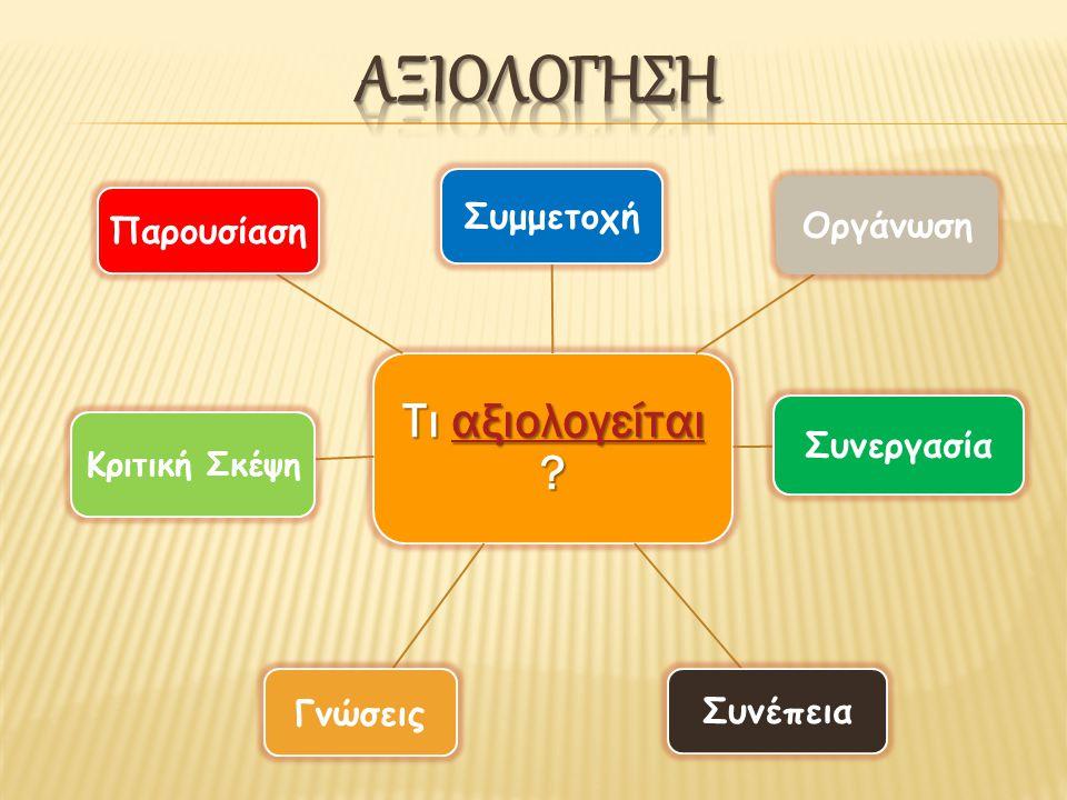αξιολογηση Συμμετοχή Οργάνωση Συνεργασία Συνέπεια Γνώσεις