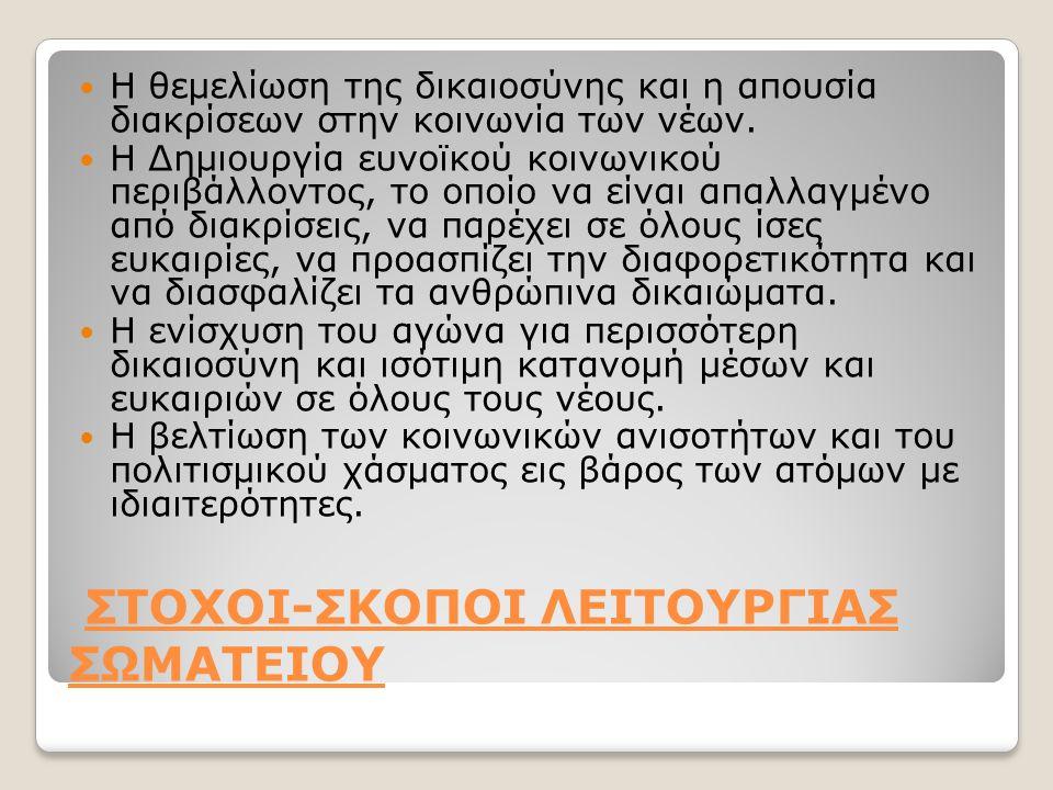 ΣΤΟΧΟΙ-ΣΚΟΠΟΙ ΛΕΙΤΟΥΡΓΙΑΣ ΣΩΜΑΤΕΙΟΥ