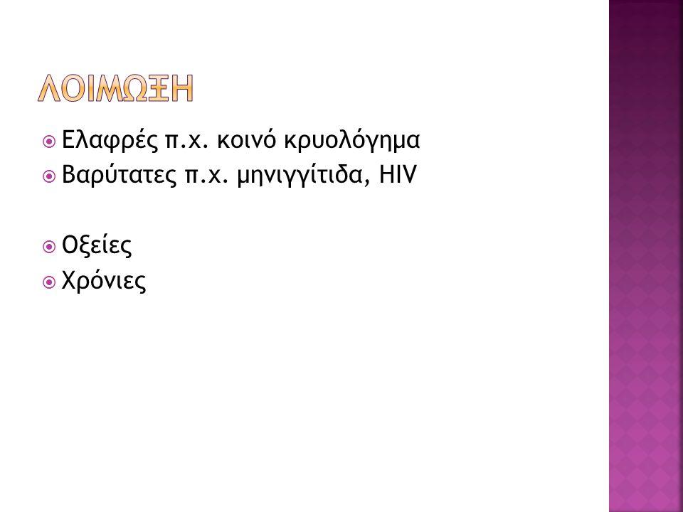 Λοιμωξη Ελαφρές π.χ. κοινό κρυολόγημα Βαρύτατες π.χ. μηνιγγίτιδα, HIV