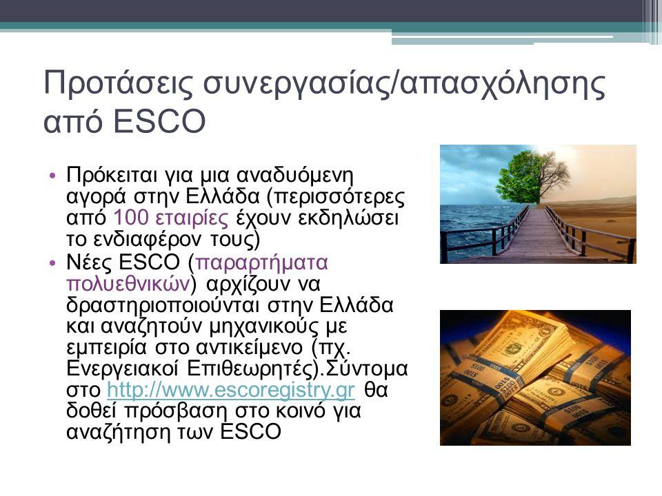 Προτάσεις συνεργασίας/απασχόλησης από ESCO